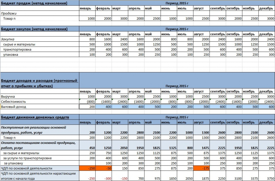 Выдержка из бюджетной модели компании