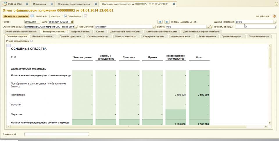 Отчетность МСФО что это такое стандарты МСФО и трансформация в  Фрагмент Отчета о финансовым положении МСФО в wa Финансист закладка мсфо